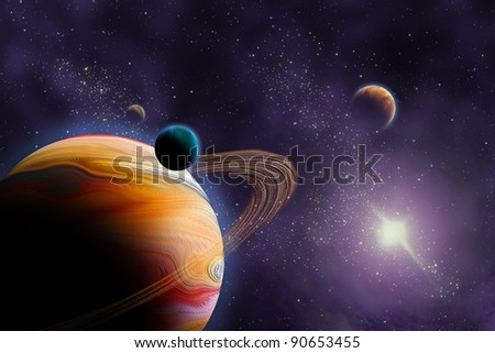 Planets in deep dark space. Abstract illustration of universe. - stock photo