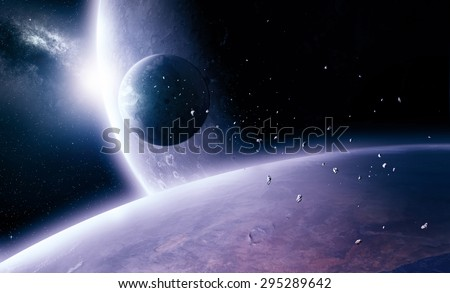 Planets in deep outer space - stock photo