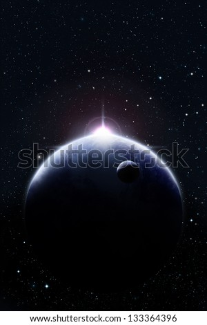 Planets in space against bright star - stock photo