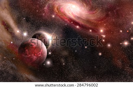 planets, nebula, galaxy, stars of the on background cosmos space - stock photo
