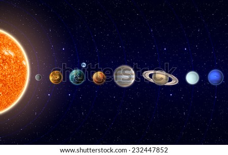 Planets of the Solar System - Elements of this Image Furnished by NASA - stock photo
