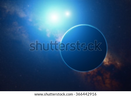 Planets on a starry background. Digital illustration. No elements of NASA or other third party. - stock photo