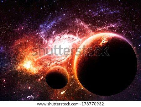 Planets over Golden Galaxy - Elements of this Image Furnished by NASA - stock photo