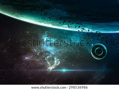 Planets over the nebulae in space. Elements of this image furnished by NASA - stock photo