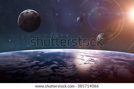 Planets over the nebulae in space. This image elements furnished by NASA - stock photo