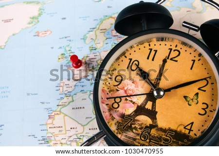 Planing travel france paris worldmap globe stock photo image planing for travel to france paris with worldmap globe and alarm clock travel time in gumiabroncs Choice Image