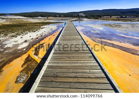 plank road in Yellowstone National Park - stock photo