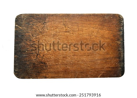 plank wood isolated on white background - advertising hanging board - stock photo