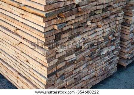 Planks in manufacturing. Packed boards for sale - stock photo