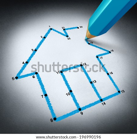 Planning a home concept with a pencil drawing lines to connect the dots to realize a family dream of building a residential structure by saving money to afford a house mortgage. - stock photo