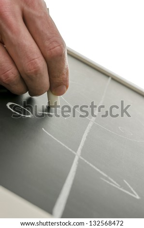 Planning a soccer strategy on a black board. - stock photo