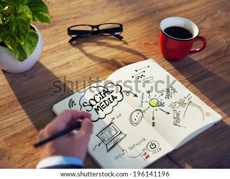 Planning and Writing about Social Media  - stock photo