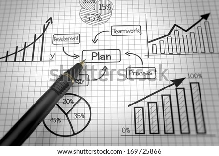 Planning document with flow charts - stock photo