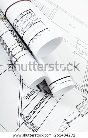 Planning of construction of the house. Drawings for building house. Working drawings. - stock photo