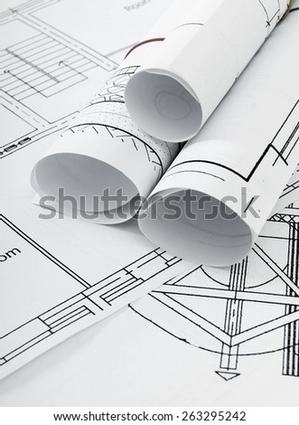 Planning of construction of the house. Drawings for building house. Working drawings.