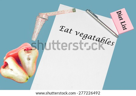 """Planning of diet """"EAT VEGATABLES"""". isolated on white background - stock photo"""