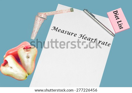"""Planning of diet """"MEASURE HEART RATE"""". isolated on white background - stock photo"""