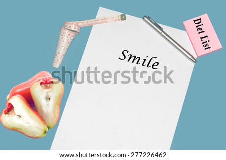 """Planning of diet """"SMILE"""". isolated on white background - stock photo"""