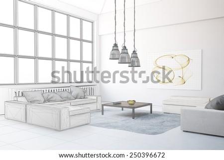 Planning of interior design in loft living room (3D Rendering) - stock photo