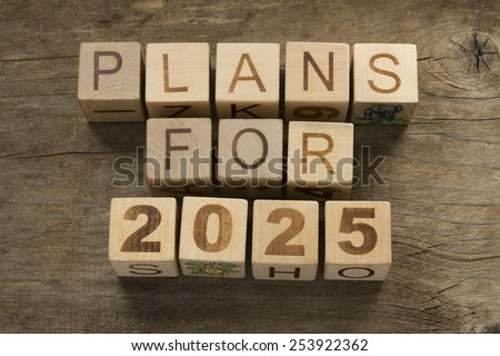 Plans for 2025 on a wooden background - stock photo