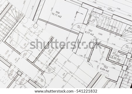 Plans of building. Architectural project. Floor plan designed building on the drawing.