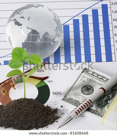 plant, and finances - stock photo