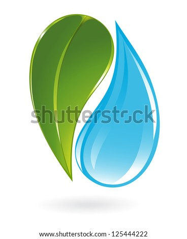 Plant and water icon - stock photo