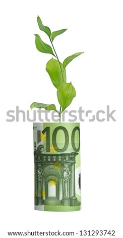 plant growing from euro bill - stock photo