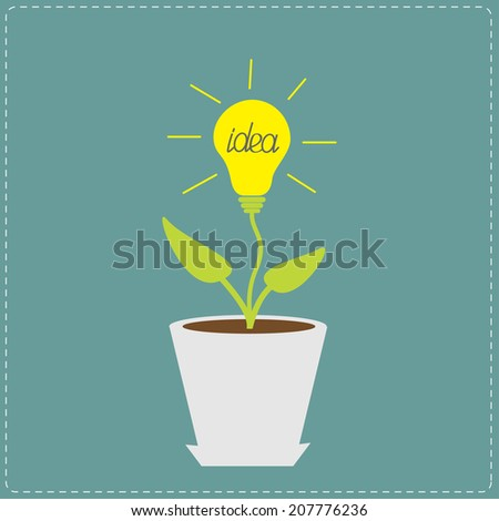 Plant in the pot with lamp bulb. Growing idea concept.  - stock photo