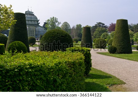 Plant sculptures inside Schenbrunn park in Vienna, Austria - stock photo