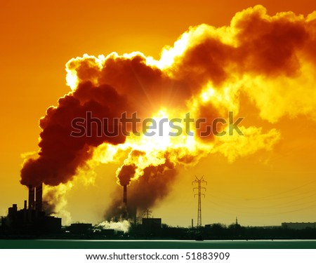 Plant with smoke and blue sky - stock photo