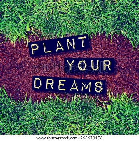 plant your dreams text on top of dirt and grass toned with a retro vintage instagram filter app or action - stock photo