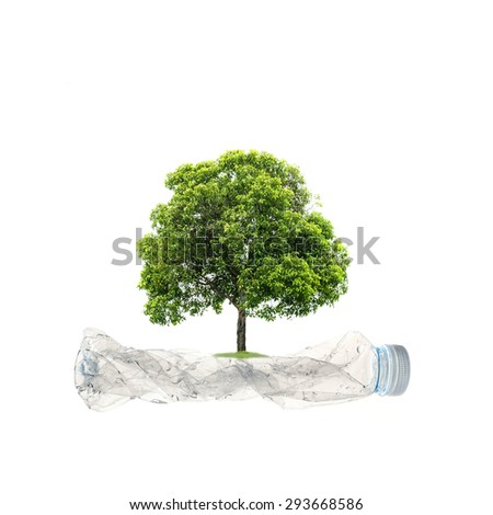 Planting Trees concept on a water bottle plastic recycle on white background. - stock photo
