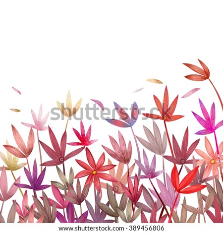 Plants and flowers composition. Botanical background. Empty space for your design. Clipping path included. Fast isolation. Hi-res file. Hand drawn. Raster illustration.