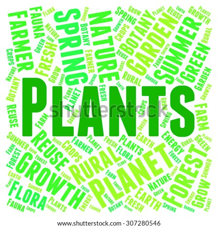 Plants Word Representing Flora Verdure And Foilage