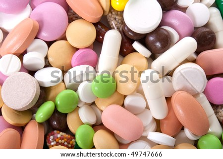 planty of different colorful pills - stock photo