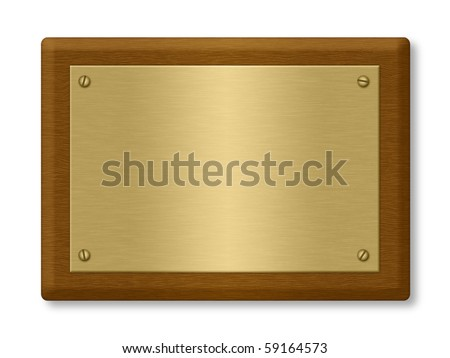 Plaque or sign consisting of a gold plate on wood. Isolated on White. Clipping path included. - stock photo