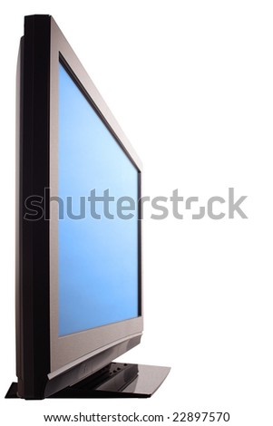 Plasma HDTV screen, side view. Isolated on white with clipping paths. - stock photo