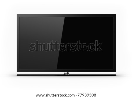 Plasma TV - blank screen - stock photo