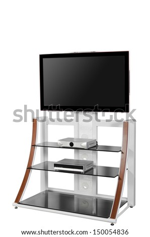 Plasma TV on a stand isolated on white background - stock photo