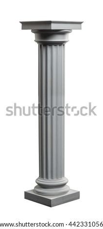plaster column on a white background isolated - stock photo