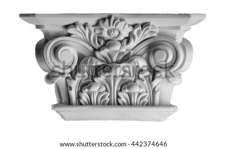 plaster columns, pilasters, basrelief on a white background, gypsum - stock photo