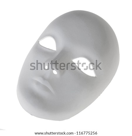 Plaster Venetian mask on white - stock photo