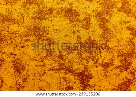 plaster wall, abstract grunge background in red and yellow colors - stock photo