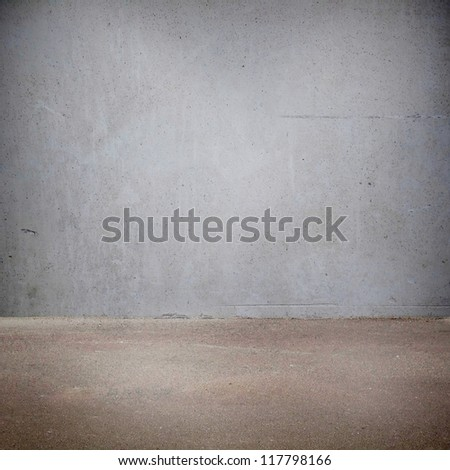 Plaster wall and the floor with light - stock photo