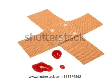 plaster with blood - stock photo