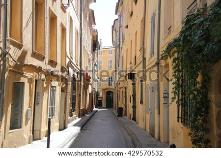 Plastered facades in traditional Provencal colors in Aix-en-provence