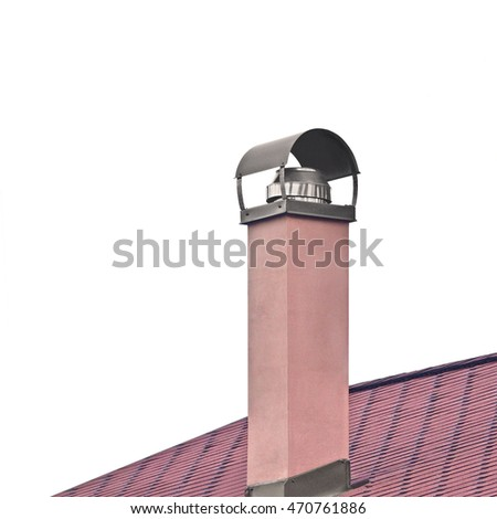 Plastered Terracotta Painted Chimney Stainless Steel Smoke Pipe, Red Tile Roof Texture, Detailed Tiled Roofing, Large Isolated Vertical Closeup, Modern House Rooftop Tiles Textured Pattern, Copy Space