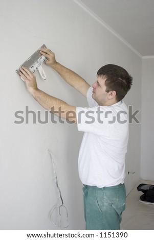 plasterer - stock photo