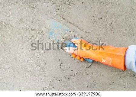 plastering concrete - stock photo